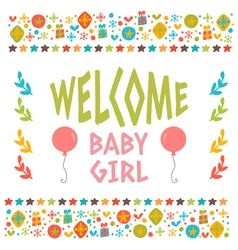 Welcome baby girl shower card arrival card cute vector