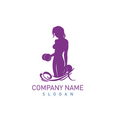 bodybuilder female logo vector image