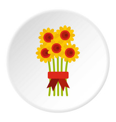 Bouquet of flowers icon circle vector