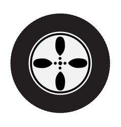 Car wheel on white background vector