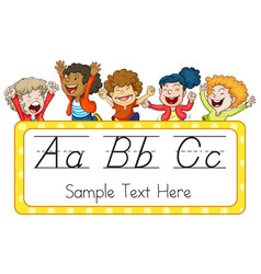 children and english alphabets vector image vector image