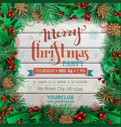 christmas festive frame on light wooden background vector image vector image