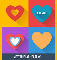 colorful hearts set vector image vector image