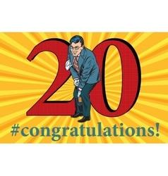 Congratulations 20 anniversary event celebration vector image vector image
