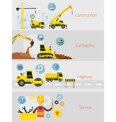 Construction Banner Concept Set vector image vector image