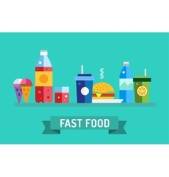 Fast food objects set water bottle juice vector