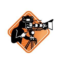 Film crew cameraman shooting filming camera vector