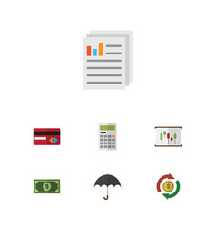 Flat icon incoming set of greenback document vector