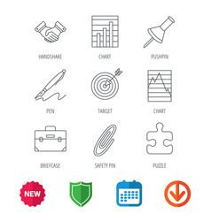 handshake graph charts and target icons vector image