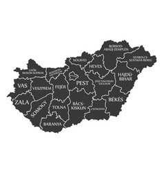 hungary map labelled black vector image vector image