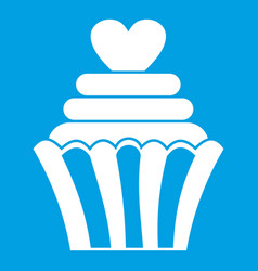 Love cupcake icon white vector