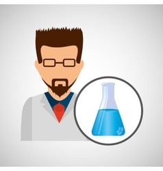 Male scientist laboratory beaker icon vector