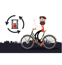 Man on bicycle with sand clock vector
