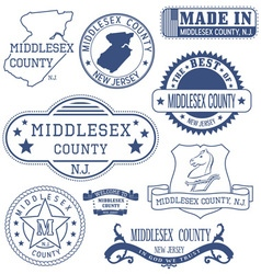 Middlesex county new jersey stamps and seals vector