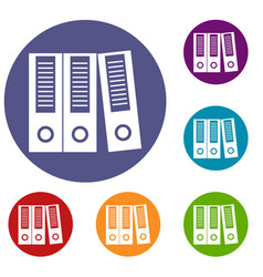 office folders icons set vector image vector image