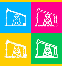 Oil drilling rig sign four styles of icon on four vector
