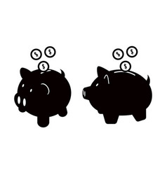 Piggy bank icons set isolated on white background vector