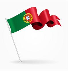 Portuguese pin wavy flag vector
