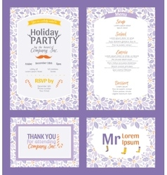 Puprle holiday party invitation set with vector