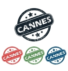 Round cannes city stamp set vector