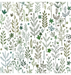 Seamless hands drawn spring pattern with grass and vector image vector image