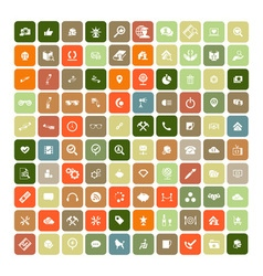 Set of 100 universal icons simple flat style busin vector