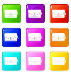 Small bag icons 9 set vector