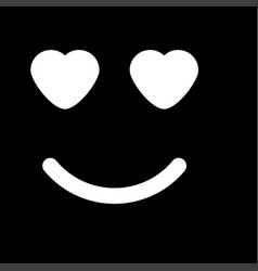smile with heart eyes white color icon vector image vector image