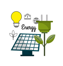 Solar energy with power cable and bulb vector