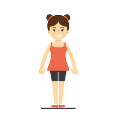 sporty smiling girl in sportswear standing vector image