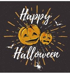 Vintage black Halloween background with pumpkins vector image vector image