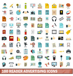 100 reader advertising icons set flat style vector image vector image