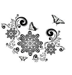 Vintage floral with butterflies3 vector