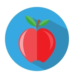 Red apple with branch and leaves icon vector