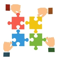 Hands collect puzzle vector