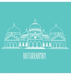 Baiturrahman mosque islam historic building in vector