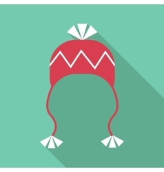Hat with pompom icon flat style vector