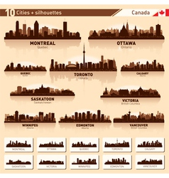 City skyline set Canada silhouettes vector image