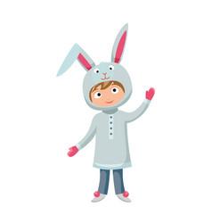 kid rabbit costume festival superhero character vector image