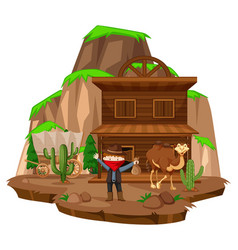 Cowboy town with robber and camel vector