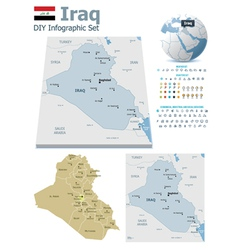 Iraq maps with markers vector image