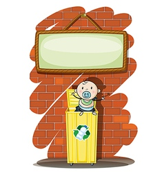 A trashcan with a baby below the hanging signboard vector