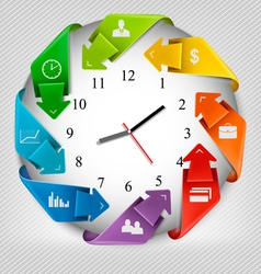 Infographics origami clock with icons vector