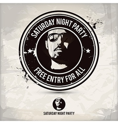 Saturday night party stamp vector