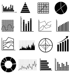 Graph chart icons set vector
