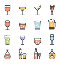 Alcohol beverage icon bold stroke with color vector