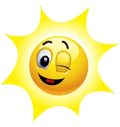 Smiley sun character vector