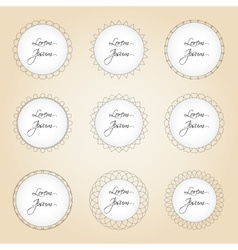 Set of simple lines circle border decorations vector