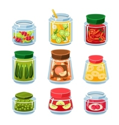 Canned fruit and vegetables in cans vector