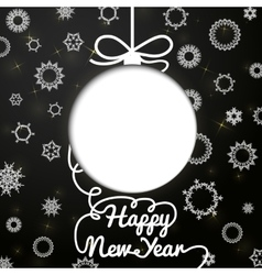 New year handwritten swirl lettering greeting card vector